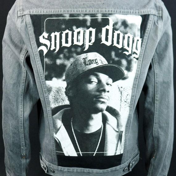 Snoop Dogg Levis Denim Jacket Gray Jean Red Tab Upcycle Adult Medium