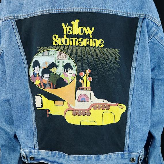The Beatles Denim Jacket Yellow Submarine Wrangler Hero Blue Jean Mens LARGE
