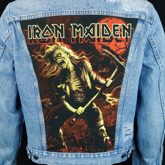 Iron Maiden Levis Denim Jacket Blue Jean Distressed  Vintage Made in USA 44R Mens Medium