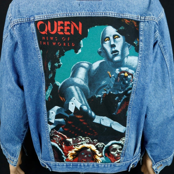 QUEEN Band Levis Denim Jacket Blue Jean Freddie Mercury News of the World LARGE