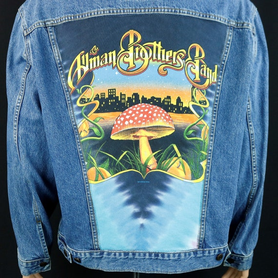 Allman Brothers Band Levis Denim Jacket Mushroom Upcycle  Blue Jean Mens 2XL