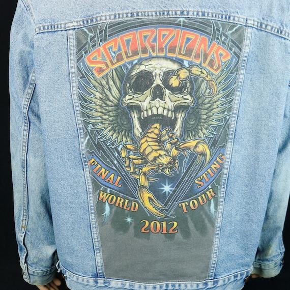 Scorpions Levis Denim Jacket Blue Jean Distressed Final Sting Tour Mens 2XL