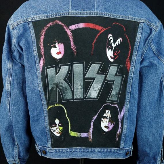 KISS Band Levis Denim Jacket Blue Jean Gene Simmons Upcycled Coat Mens Large