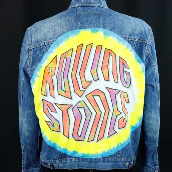 The Rolling Stones Levis Denim Jacket Tie dye Blue Jean Trucker Mens LARGE