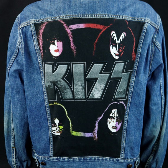 KISS Band Levis Denim Jacket Blue Jean Gene Simmons Upcycled Coat Mens XLarge