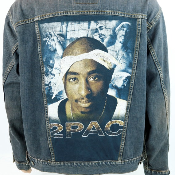 2PAC Levis Denim Jacket Tupac Shakur Rapper Blue Gray Jean Red Tab Mens XLARGE