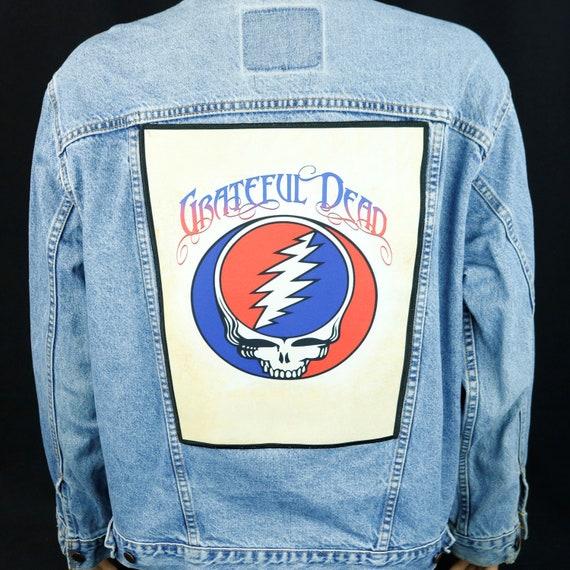 Grateful Dead Levis Denim Jacket Steelie Cloth Back Patch Blue Jean Men's XLARGE