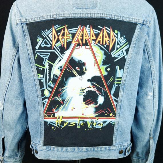 Def Leppard Levis Denim Jacket Hysteria Blue Jean Trucker DISTRESSED 44 MEDIUM