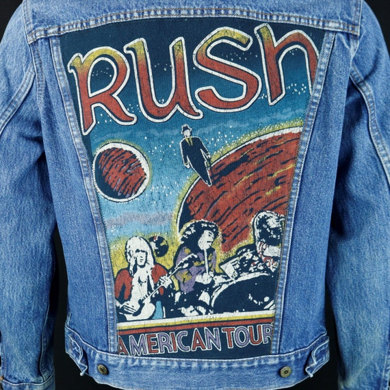 RUSH Band Levis Denim Jacket Blue Jean USA VTG Concert Tour Sz 40 Mens Small