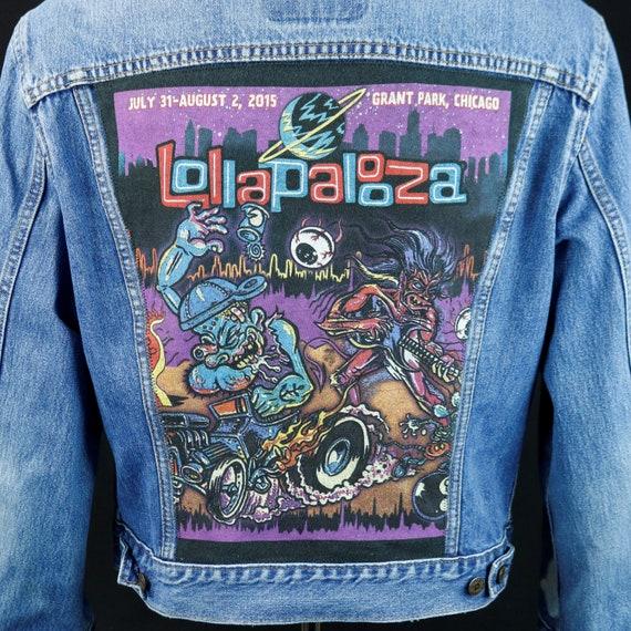 Lollapalooza Levis Denim Jacket Blue Jean VTG Made Canada Upcycle Adult MEDIUM