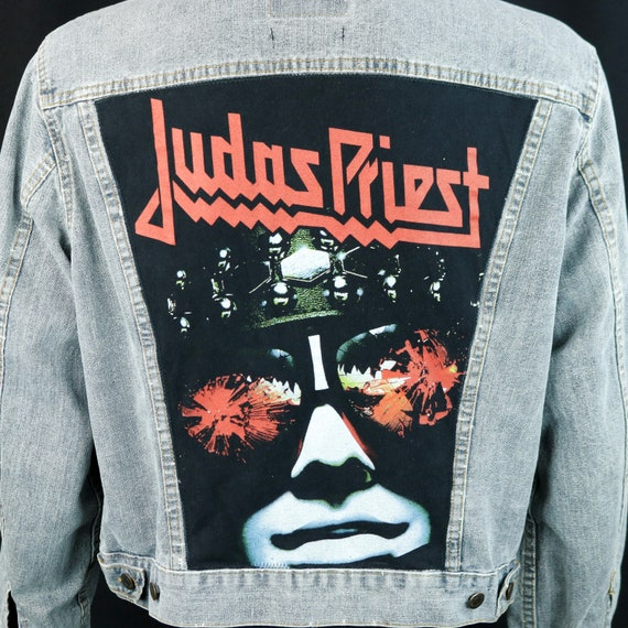 Judas Priest Levis Denim Jacket Gray Blue Jean Orange Tab VTG USA 46 Mens Medium