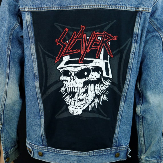 SLAYER Wrangler Jacket Blue Denim Rugged Wear Distress Mens Medium