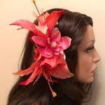 Retro coral lily fascinator, Vintage Bridal, Rockabilly hair flower