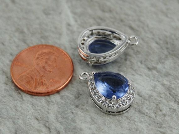 2 pc - cadre en forme de goutte d'oreille en verre, pendentif goutte d'eau, boucle d'oreille goutte résultats (19x12MM) TDTK2 de couleur Tanzanite plaquée argent b12f54