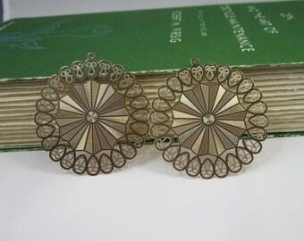 2 Pcs - Gold Plated Over Copper Laser Cut Filigree Earring Findings,Pendant,Earrings,Jewelry Findings,Links (45MM) SL2153