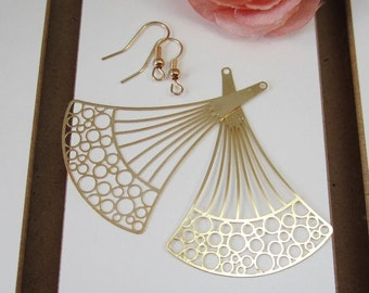 2 Pcs - Gold Plated Over Copper Laser Cut Filigree Chandelier Earring Findings,Pendant,Earrings,Jewelry Findings,Links (58x41MM) SL1067