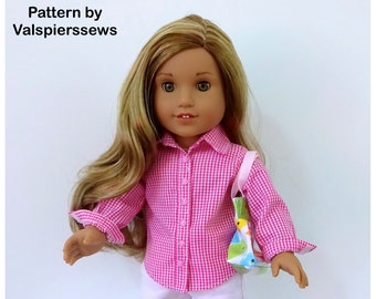 """1837, Everyday Shirt, Fits the 18"""" American Girl Dolls, Easy to Sew One Piece Collar and Stand, Valspierssews 18"""" Doll Clothes Pattern"""