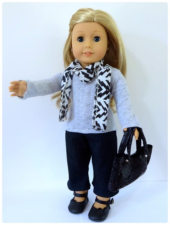 """Outfit No.1 Cropped Flares Outfit for the fashionable 18"""" doll, Pattern by Valspierssews, Fits Popular 18"""" Dolls."""
