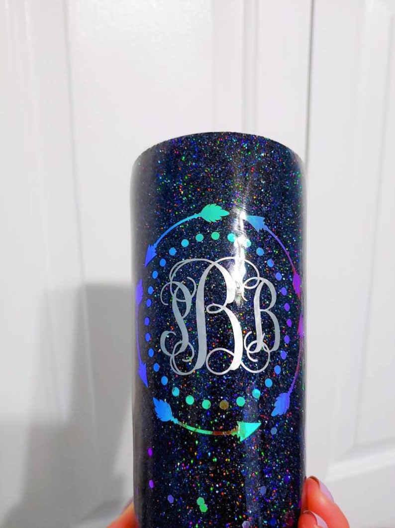 F Bomb Mom #sorrynotsorry Black Gliter Holographic Vinyl 22 oz Double Wall Stainless Steel Tumbler by Hot Headz