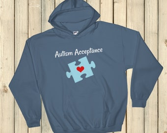 Autism Acceptance Awareness Puzzle Piece Hoodie Sweatshirt - Choose Color