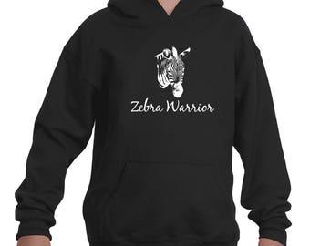 I Am a Zebra Warrior Rare Disease Ehlers Danlos EDS Kids' Youth Hoodie Sweatshirt - Choose Color