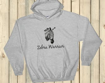 I Am a Zebra Warrior Rare Disease Ehlers Danlos EDS Hoodie Sweatshirt - Choose Color