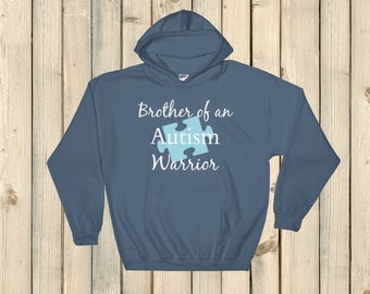 Brother of an Autism Warrior Awareness Puzzle Piece Hoodie Sweatshirt - Choose Color