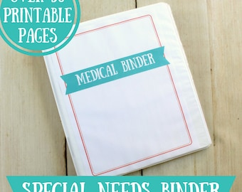 Special Needs Medical Binder Printables 32 Pages Instant Download Feeding Tube, Medically Complex, Autism, Cerebral Palsy, Down Syndrome