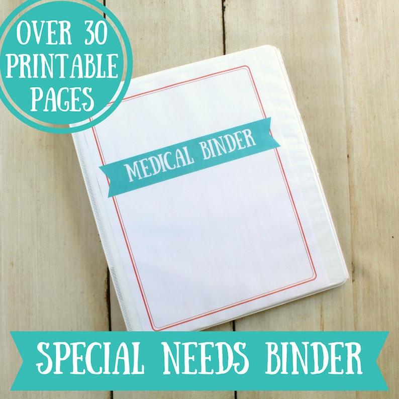 Special Needs Medical Binder Printables 32 Pages Instant image 0