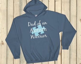 Dad of an Autism Warrior Awareness Puzzle Piece Hoodie Sweatshirt - Choose Color