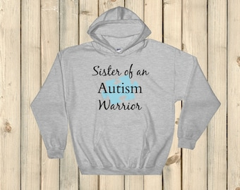Sister of an Autism Warrior Awareness Puzzle Piece Hoodie Sweatshirt - Choose Color