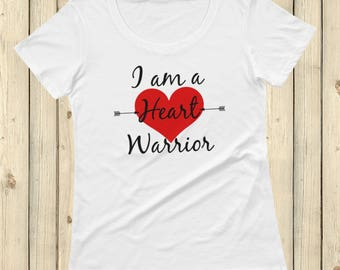 I am a Heart Warrior CHD Heart Defect Scoop Neck Women's Shirt - Choose Color