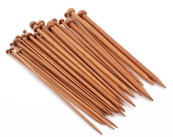 36PCS Carbonized Bamboo Knitting Needles Smooth Crochet Single Pointed 18 Sizes - Aiguilles à tricoter en bamboo (36 pièces/18 grandeurs)