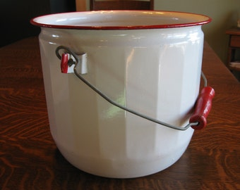 Large Enamel white with red accents pot