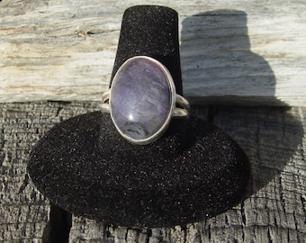 Purple Agate in Sterling Silver Ring Size 9