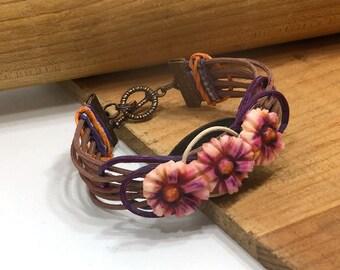Daisy Cuff Bracelet Woven Reed