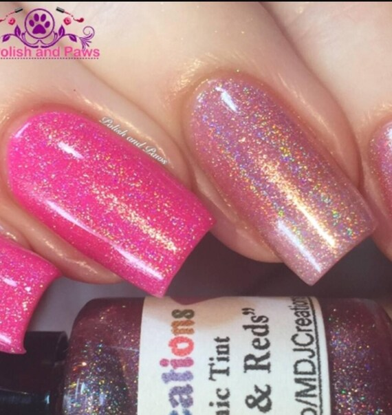 Pink Tinted Holo Top Coat For Pinks Reds Builds To Opacity 3 Coats Indie Nail Polish By Mdj Creations