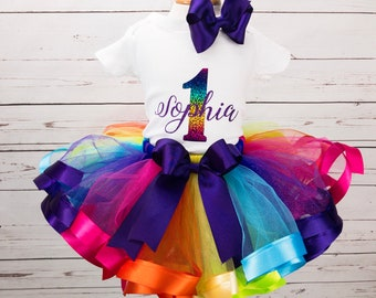 Personalized Rainbow Birthday Tutu Outfit For Girl