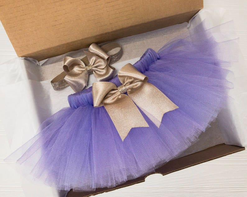 8a4d13262 Light Purple Tutu for Girls Lavender and Gold Tulle Skirt | Etsy