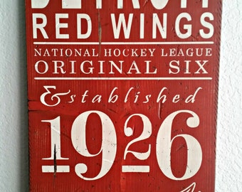 2 SIZES Detroit Red Wings Hockey - Original 6 - Distressed wood sign