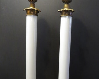 9cff10778db5 2 Antique NEO CLASSIC HOLLYWOOD regency marble corinthian column table lamps