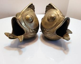 Vintage Pair brass Asian koi fish ashtrays Metal Table Art