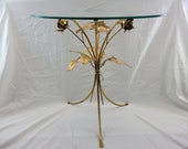 Midcentury Italian Gold Gilt Metal Side Table with Roses and Glass Top