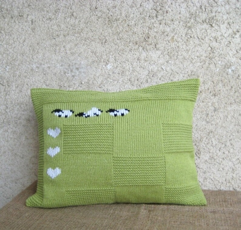 Decorative Sheep Heart Pillow Case Lumbar Apple Green image 0