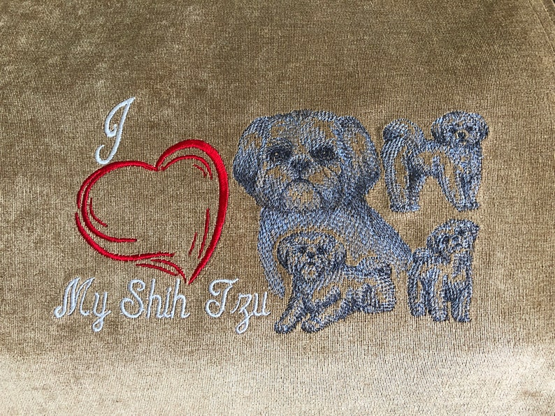 Dog Furniture Protector Dog Heart Design Great Gift Machine Embroidered Shih Tzu Sketch Recliner Cover UF-Camel Upholstery 14x30