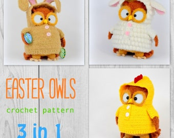 Easter owls in costumes - amigurumi PDF crochet pattern in GERMAN and ENGLISH
