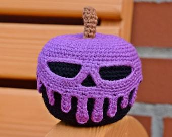 Poisoned apple crocheted Halloween decor, Halloween party, table decor, Snow White, handmade, Halloween gift
