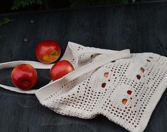 Crochet tote bag, cotton bag, market bag, summer bag, bag with a skull pattern, eco bag, gothic Halloween - made to order