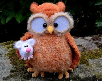 Burnette the owl with mouse crocheted OOAK unique amigurumi from the designer