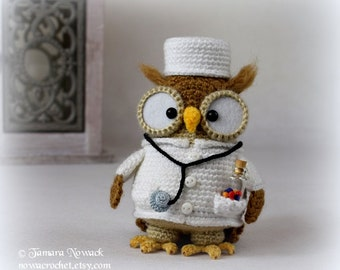 Doctorette the owl - amigurumi PDF crochet pattern ebook